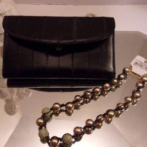 Nwt Black eel skin wallet & shambala necklace.53-4